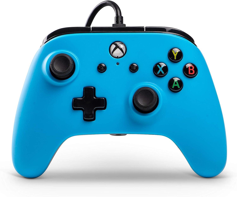 PowerA Mando con Cable con licencia oficial para Xbox One, Xbox One S, Xbox One X y Windows 10 - Azul