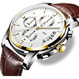 Relojes para Hombres, Reloj con Correa de Cuero de Cuarzo Ideal para atuendos Casuales, Deportivos y Formales con Resistencia al Agua de 30 MTS.
