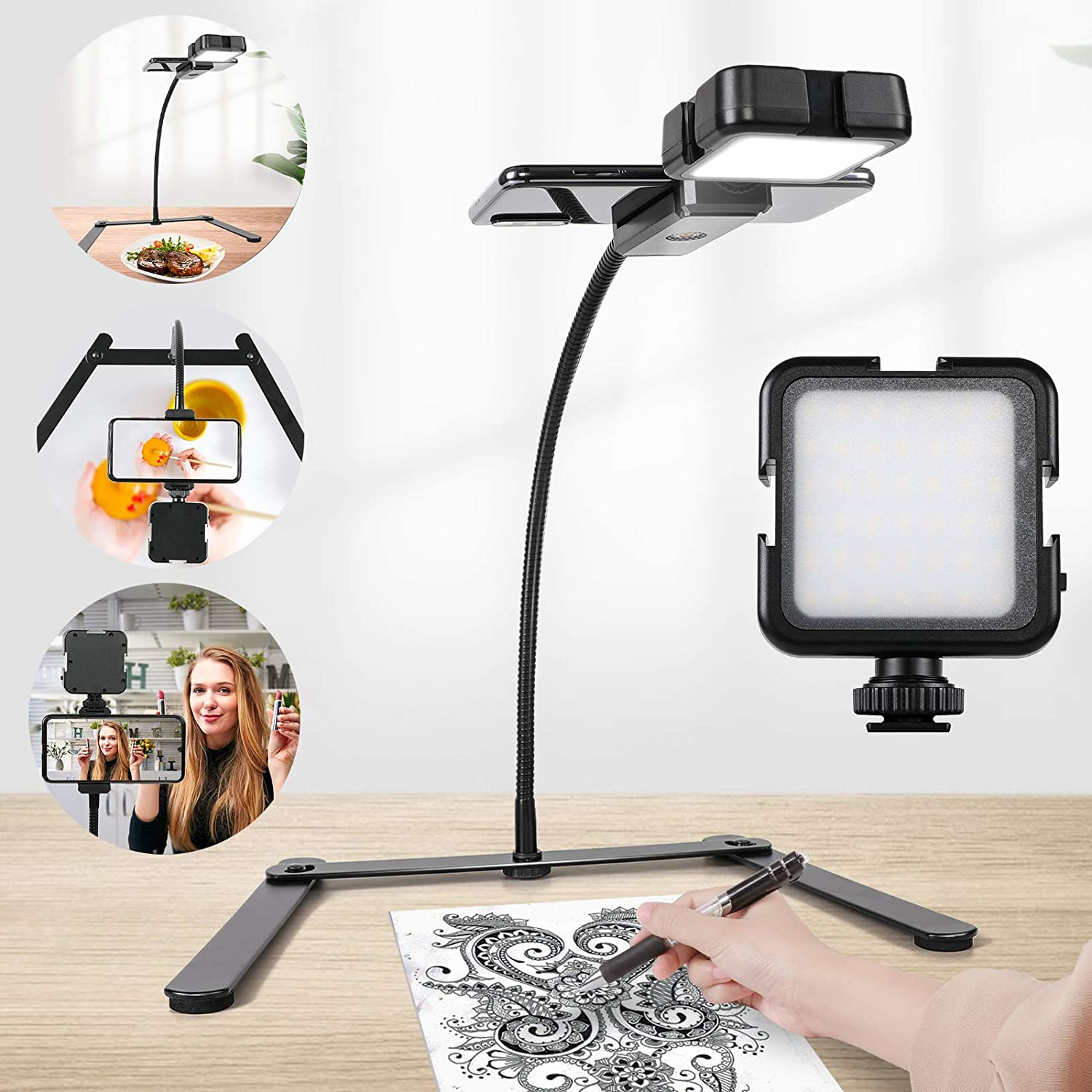 Overhead Phone Mount, Ajustable Tripod with Cellphone Holder, Tripod with Led Light/Table Top Teaching Online Stand for Live Streaming and Online Video and Cook Recording