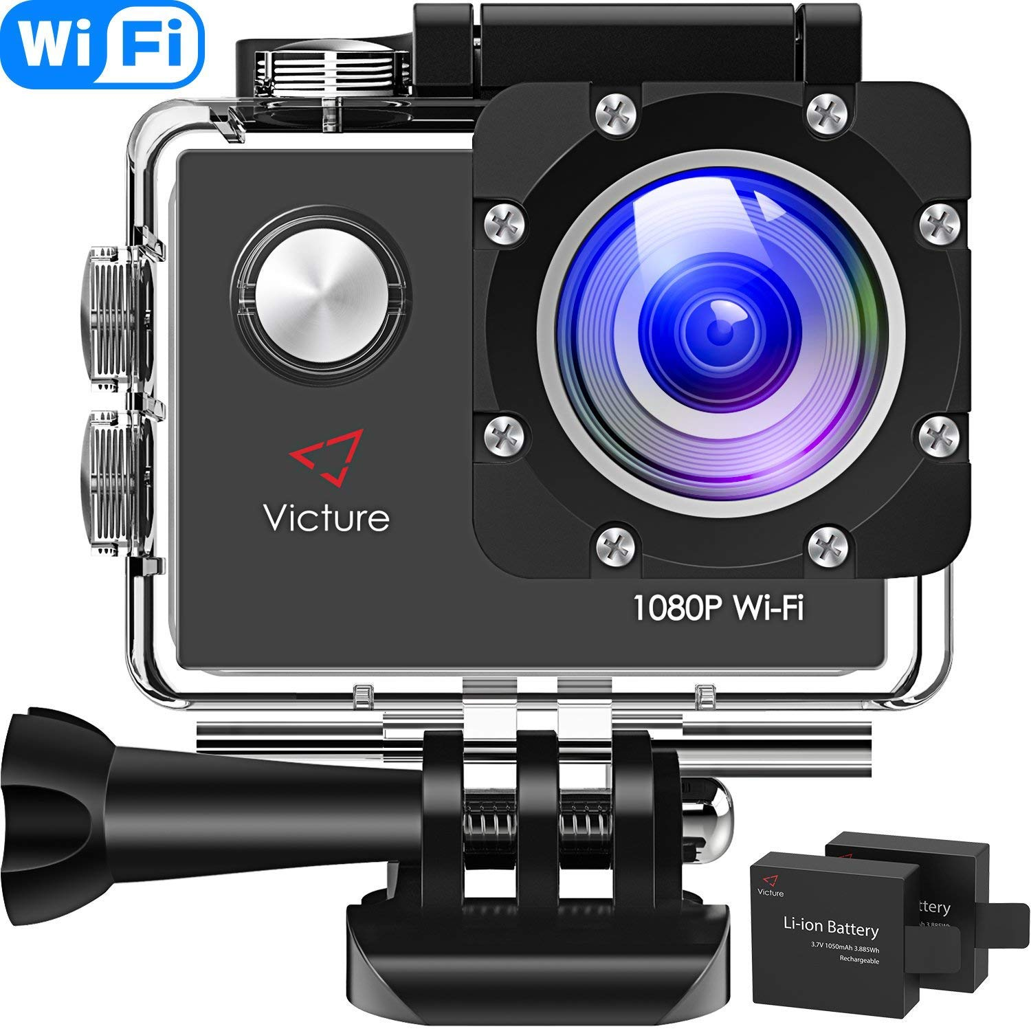 Victure Action Camera Full HD 1080P WiFi Waterproof Underwater Camcorder 2 LCD 170 Degree Ultra Wide Angle 30 m Sports Helmet Cam with 2 Batteries and Free Accessories by Victure (Image #1)