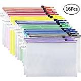 EOOUT 16pcs Plastic Mesh Zip Document Pouches Zip File Folders with A4 Size Paper, Office Supplies, Travel Storage Bags,8 Colors (16)