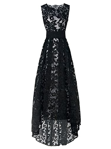 Choies Women's Lace Floral Print Gauze Panel Sleeveless High Low Party Maxi Dress