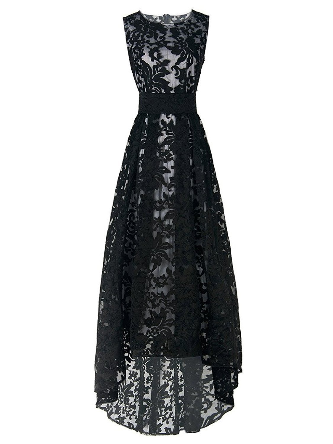 CHOiES record your inspired fashion Choies Women's Black Lace Sleeveless High Low Party Bridesmaids Maxi Dress XL