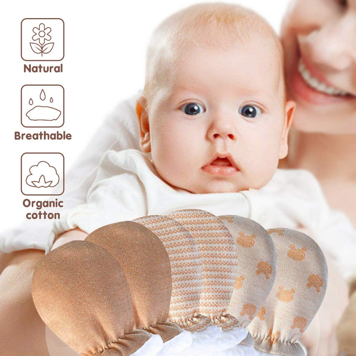 Cotton Scratch Mits Baby Essentials for Newborn Boy Girl 3 Pairs Baby Mitten Gloves-Baby Anti Scratch Mittens Gloves Wool Lined Unisex Mitts ideal Gifts for 0-12 Months Infant Toddler