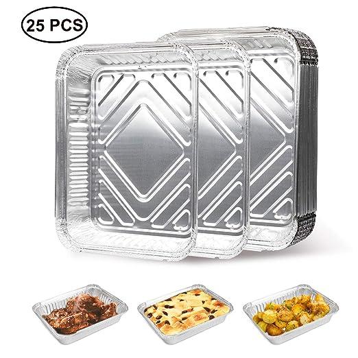 Cocinar Congelar y Guardar Recipientes con Tapas de Color Plateado 10 Bandejas Bandejas Desechables de Aluminio Grandes para Hornear