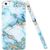luolnh iPhone 5 5S Case, Aquamarine and Gold Marble Design Slim Shockproof Flexible Soft Silicone Rubber TPU Bumper…