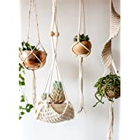 "Flber Macrame Plant Hanger Handmade Cotton Rope Wall Hangings Home Decor,30"" L"