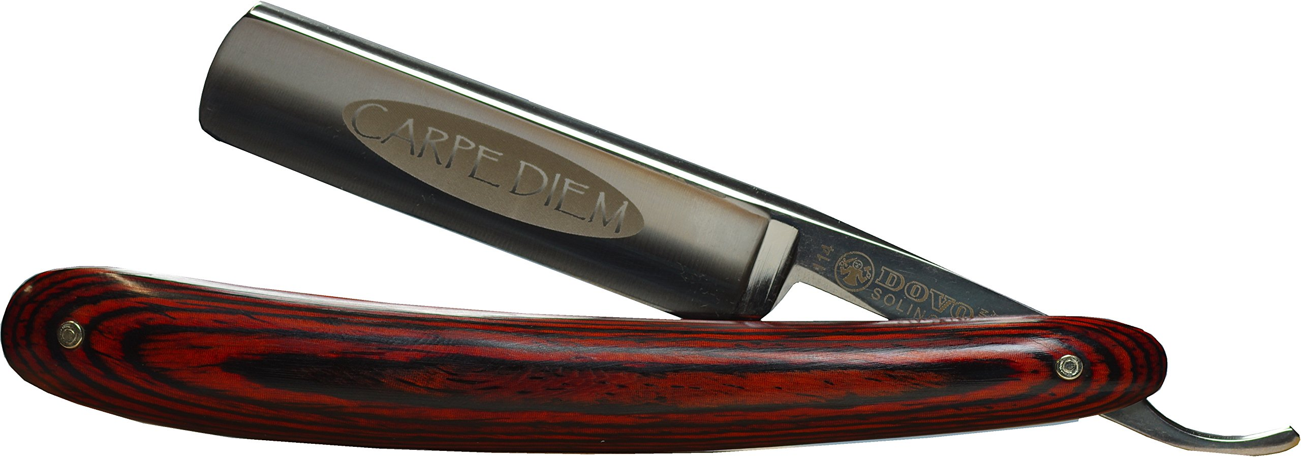 Dovo 114583 Carpe Diem 5/8'' Carbon Steel Straight Razor, Full Hollow Ground, Burgundy Multiwood Scales, with Shave Ready Option (Shave Ready, Unsealed)