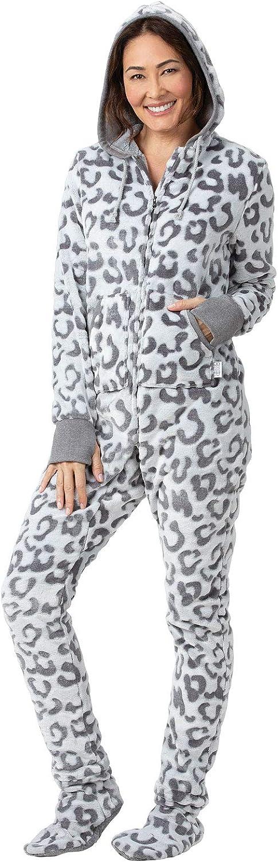 PajamaGram Fleece Onesies for Women - Hoodie Footie Pajamas Adult, Zip Front