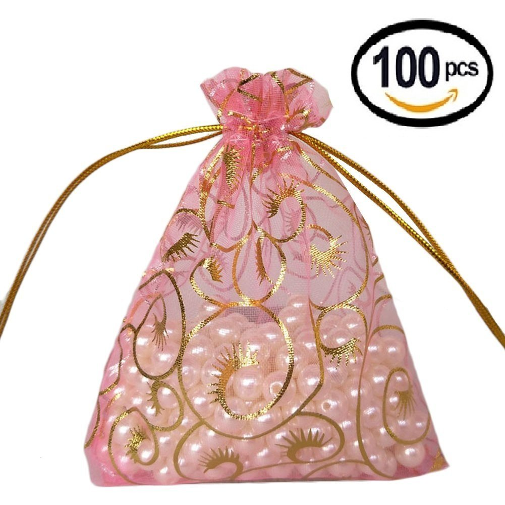 Wuligirl 100pcs Organza Bag 4x6'' Drawstring Jewelry Candy Pouches Bags Wedding Party Favor Chocolate Business Cards Bags for Women(Pink Eyelash)