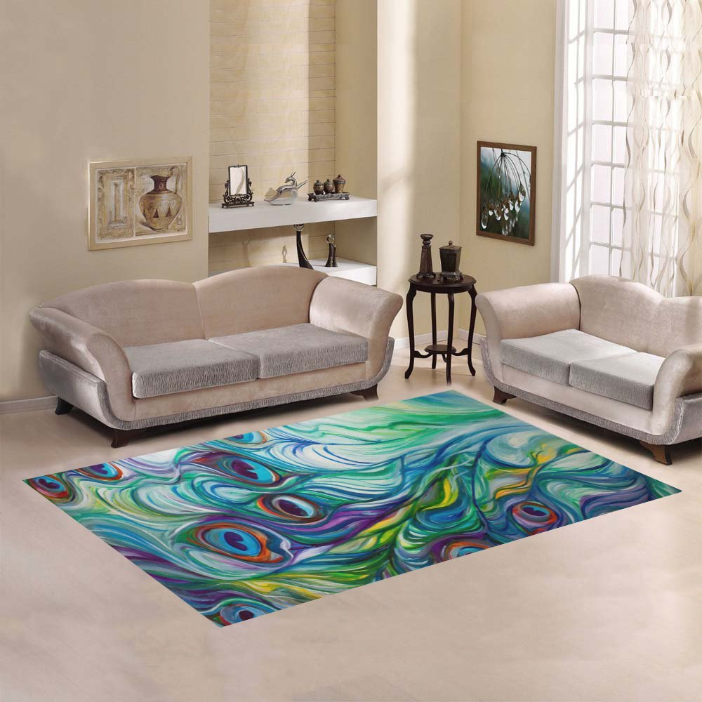 JC-Dress Area Rug Cover Peacock Modern Carpet Cover 7'x5'