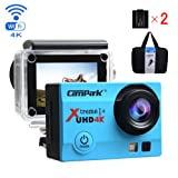 Campark 4K Action Cam WIFI Sport Action Camera Full HD 16MP 170° Grandangolare 2.0 Pollici (Custodia Professionale + Batteria di Ricambio)(Blu)