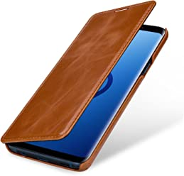 StilGut Book Type Case, Custodia per Samsung Galaxy S9+ (Plus) a Libro Booklet in Vera Pelle, Cognac