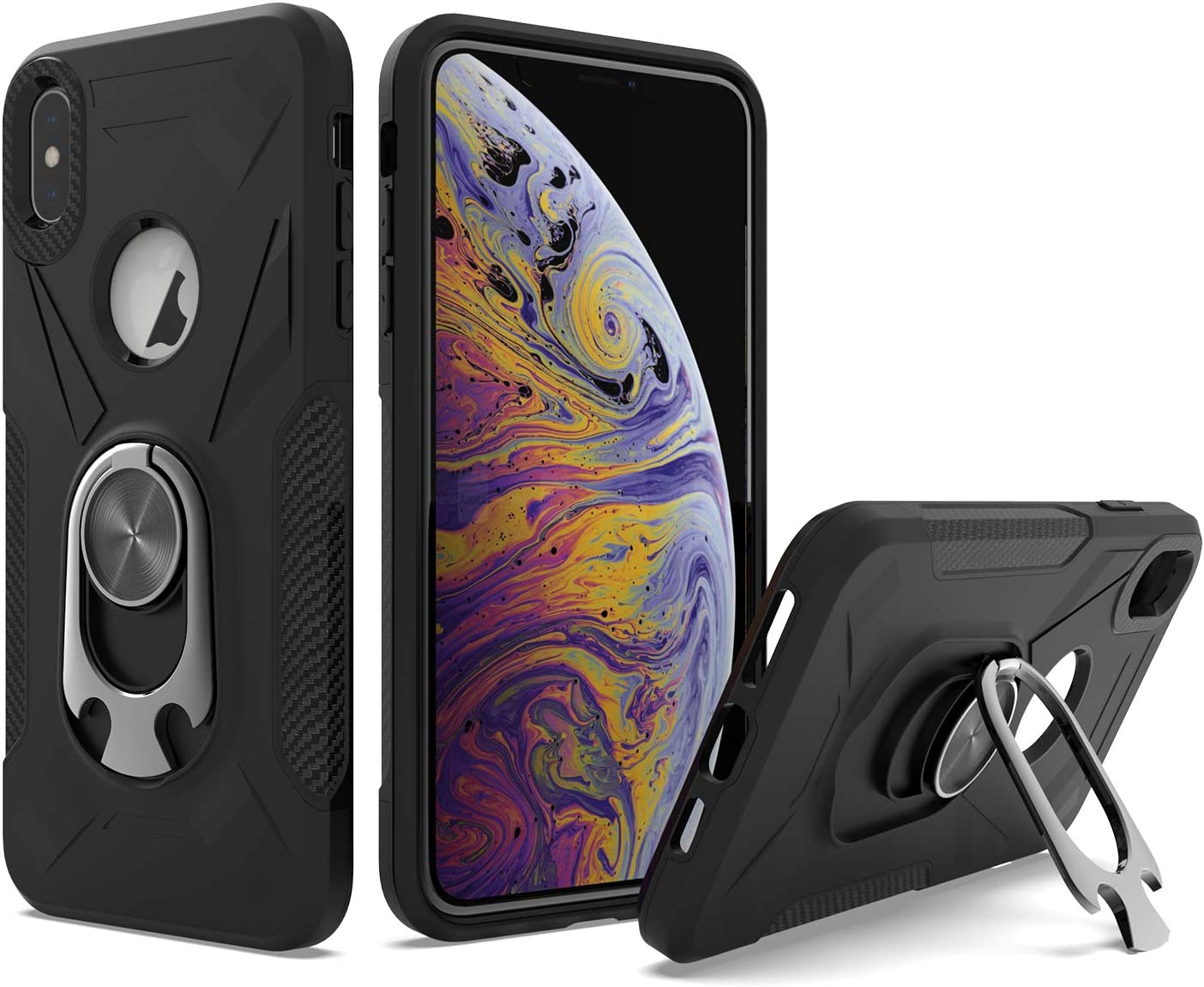 UNC Pro 2 in 1 Cell Phone Case with Bottle Opener Kickstand for iPhone Xs Max, TPU Hybrid Shockproof Bumper Anti-Scratch Dual Layer Case, Black
