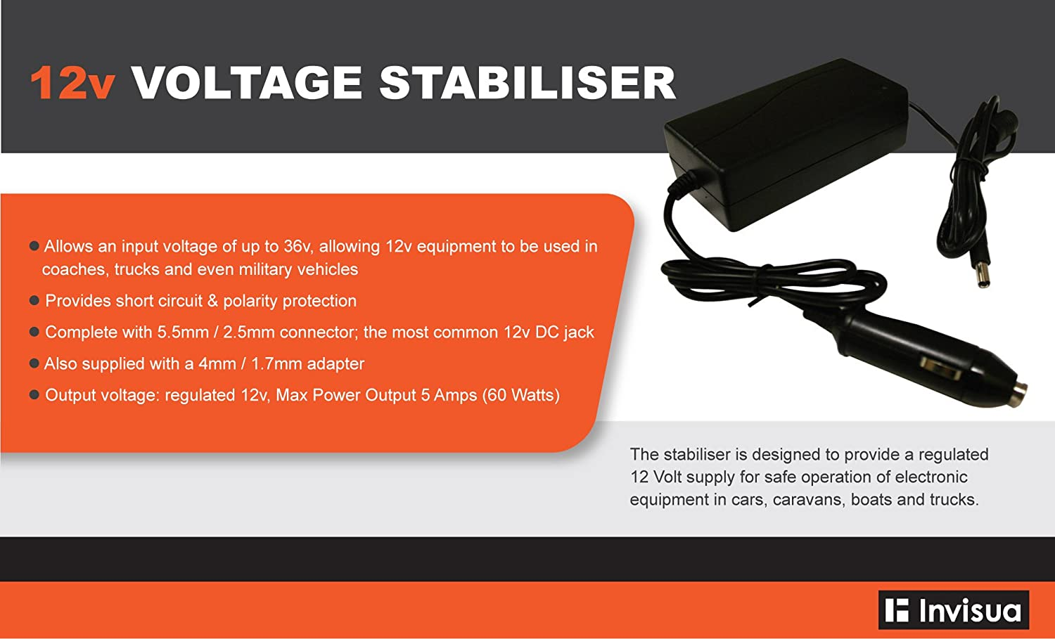 Visua 12v Voltage Stabiliser Regulator For In Vehicle Use Of Lcd Volt Regulated Power Supply Circuit Tv And Other Electronic Equipment Computers Accessories