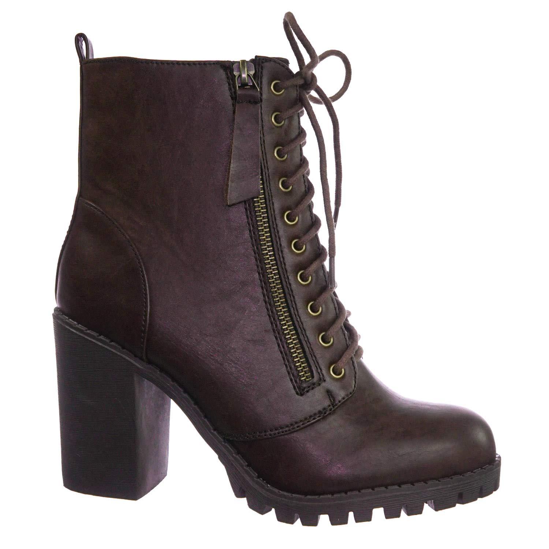 877938345c4 Soda Malia Vegan Round Toe Stacked Lug Heel Lace up Ankle Booties