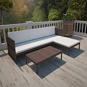 ShopHome | 3 Pieces Patio Furniture Sets | All Weather Outdoor Sectional Sofa | Rattan Patio Conversation Set with Cushion | Outdoor PE Rattan Wicker Lawn Conversation Sets | Brown