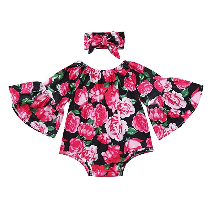 81c6f704ba35 Amazon.com  Lurryly 2Pcs Baby Girls Floral Toddler Jumpsuit Romper+Headband  Set Clothes 0-24 M  Clothing