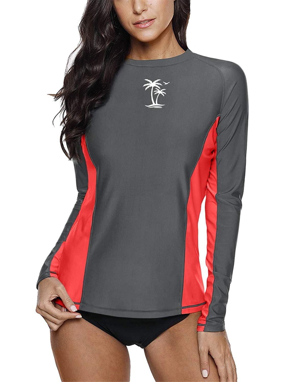 BesserBay Damen Bademode Rash Guard UV Shirts Langarm Slim-Fit Surf Shirt Schwimmen Tankini Badeshirts UPF 50+