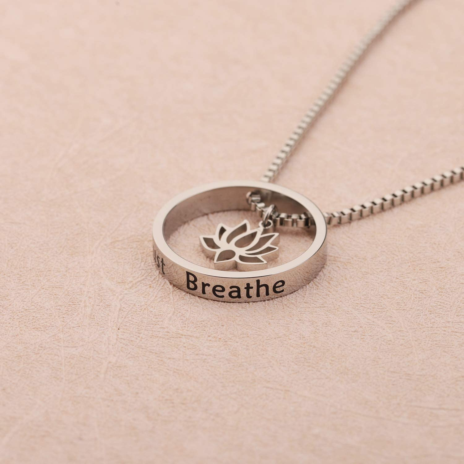 WUSUANED Lotus Flower Necklace Just Breathe Yoga Jewelry Gift for Women Girls