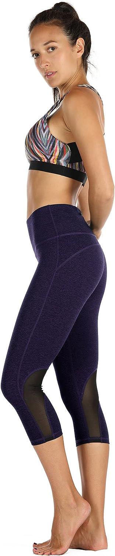 3//4 Sporthose kurz Training Tights Fitness Capri Yoga Pants icyzone Damen Sport Mesh Leggings