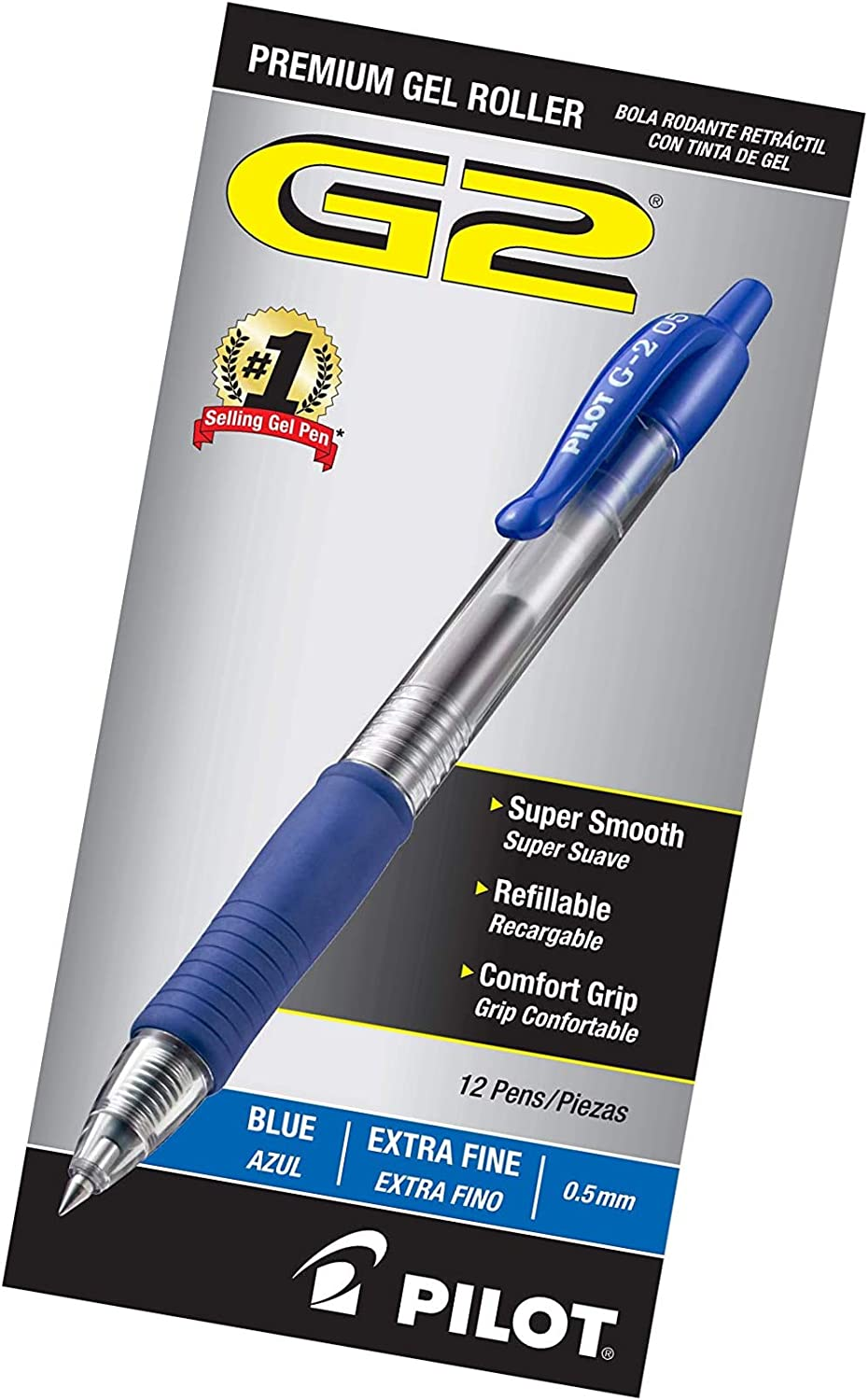 Blue Ink 12 Count PILOT G2 Premium Refillable /& Retractable Rolling Ball Gel Pens Extra Fine Point - 1 31003