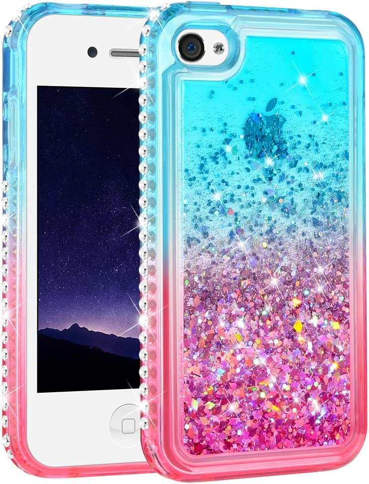 Ruky iPhone 4 Case, iPhone 4S Case, Gradient Quicksand Series Glitter Flowing Liquid Floating Bling Diamond Clear TPU Girls Case for iPhone 4 4S (Teal Pink)