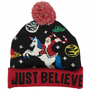 1178100463aab Image Unavailable. Image not available for. Color  Mens Light Up Just  Believe Christmas Beanie Santa Unicorn   Space ...