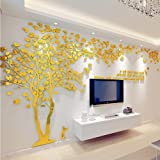 3D Huge Couple Tree DIY Wall Stickers Crystal Acrylic Wall Decals Wall Murals Nursery Living Room Bedroom TV Background Home Decorations Arts X-Large