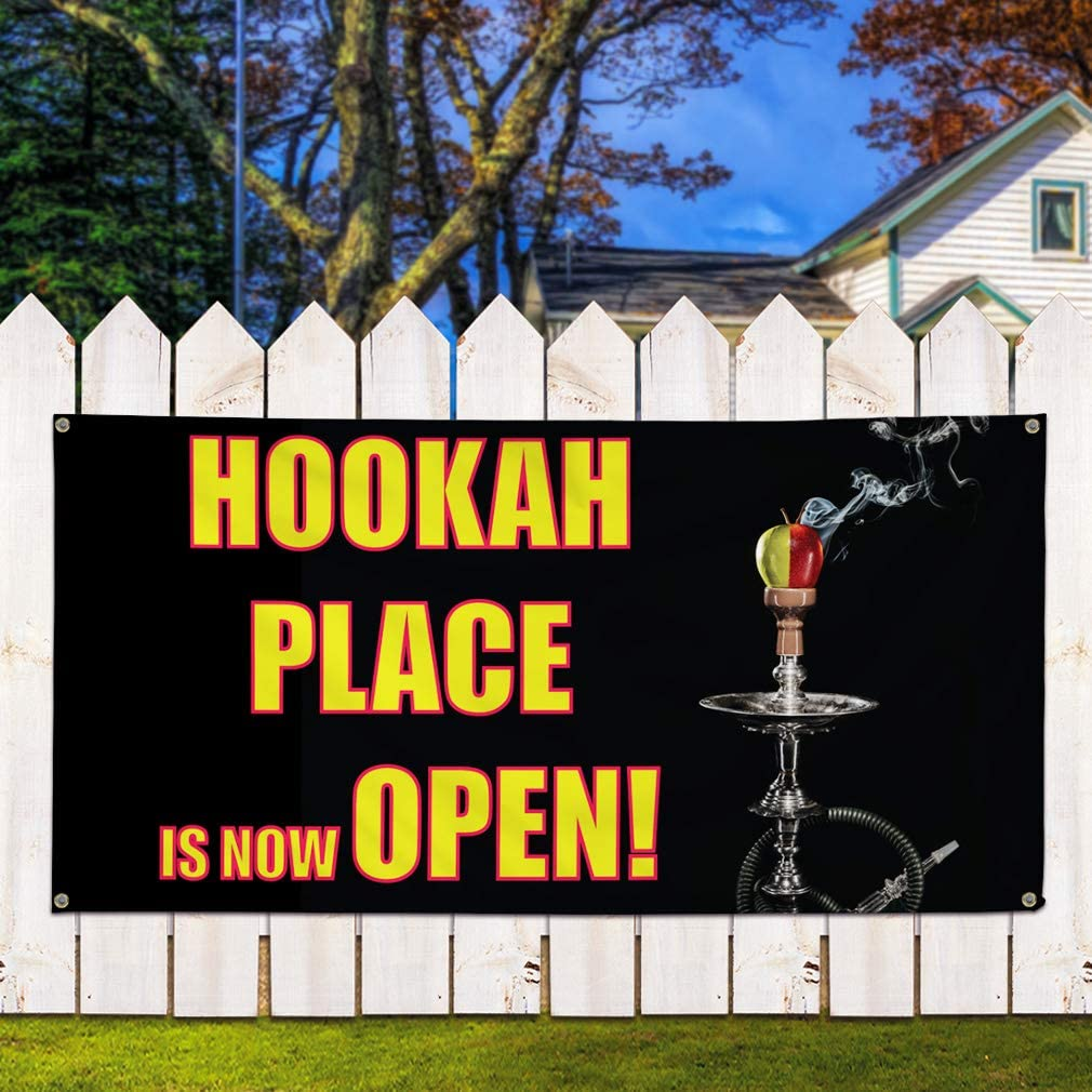 24inx60in Business Outdoor Marketing Advertising Black Vinyl Banner Sign Hookah Place is Now Open 4 Grommets Multiple Sizes Available Set of 3