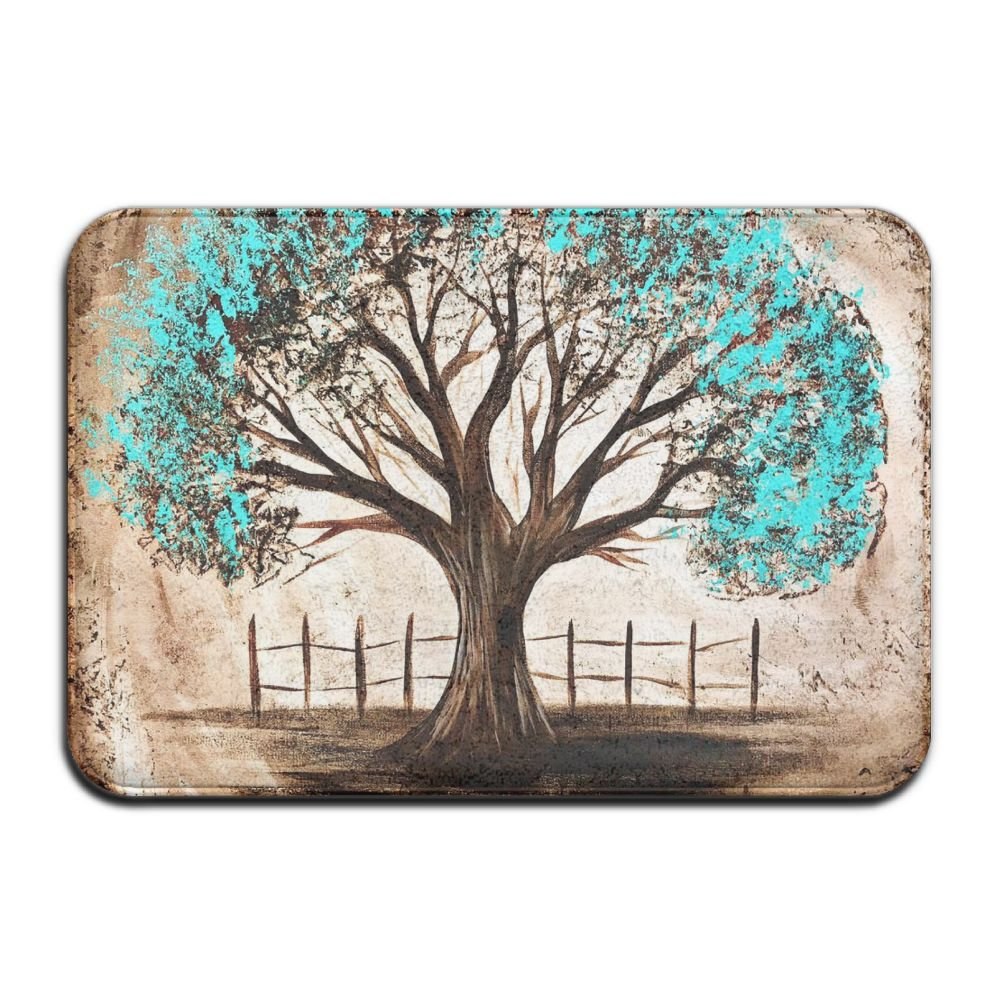 Door Mat Blue Life Of Tree Non-slip Stain Fade Resistant Soft Living Dining Room Rug For Front Door Entrance Outside Doormat 23.615.70.39Inch by Baerg