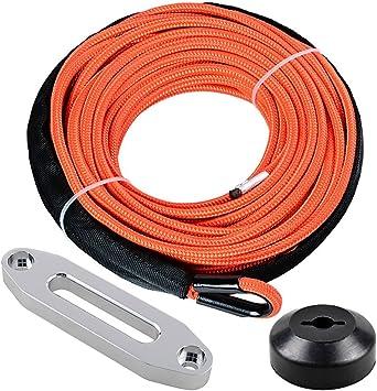 Anzio 1//4 x 50 Synthetic Black Winch Line Cable Rope 7000 Rubber Winch Stopper Line Saver LBs 39 Rock Guard Sheath Hawse Fairlead