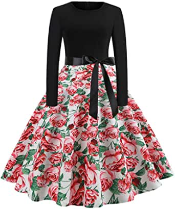 Kwok Lady Dress Women Vintage Print Long Sleeve Casual Evening Party Prom Swing Dress Prom Gown Fashion Casual Dresses Evening Dresses