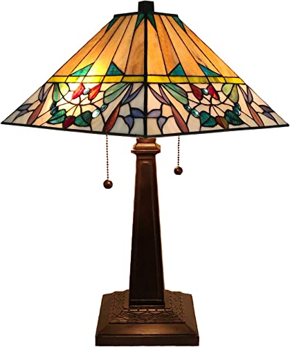 Tiffany Style Table Lamp Banker Mission 22 Tall Stained Glass Tan Green Purple Red White Vintage Antique Light D cor Night Stand Living Room Bedroom Handmade Gift AM309TL14B Amora Lighting