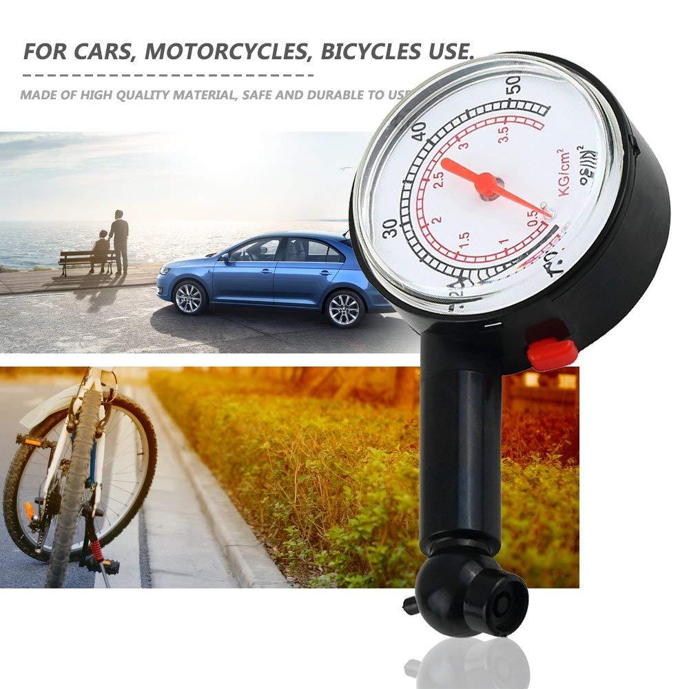 Yiyaqeanca Car Vehicle Motorcycle Bicycle Dial Tire Gauge Meter Pressure Truck Motorcycle Bicycle Tyre Measurement Tool Tire Gauge