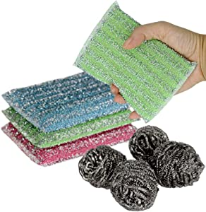 8 Pack Kitchen Scrubbing Sponges - Heavy Duty Non-Scratch Scrubbing Cleaner Sponges in 4 pcs with 4 Stainless Steel Wool -Metal Dish Scouring Scrubbers for Fast Cleaning (8pack) Color Random