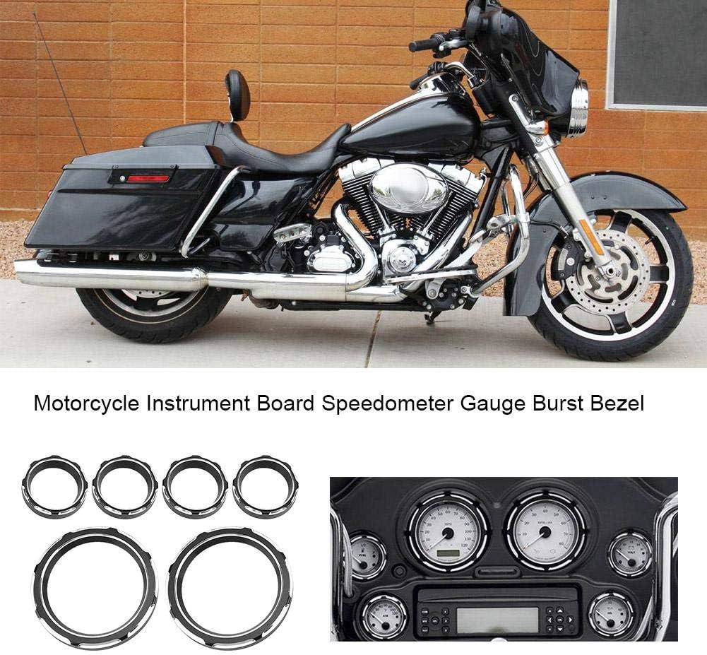 Suuonee Motorcycle Gauge Bezel Trim 6Pcs Universal Motorcycle Instrument Board Speedometer Gauge Burst Bezel Trim Ring