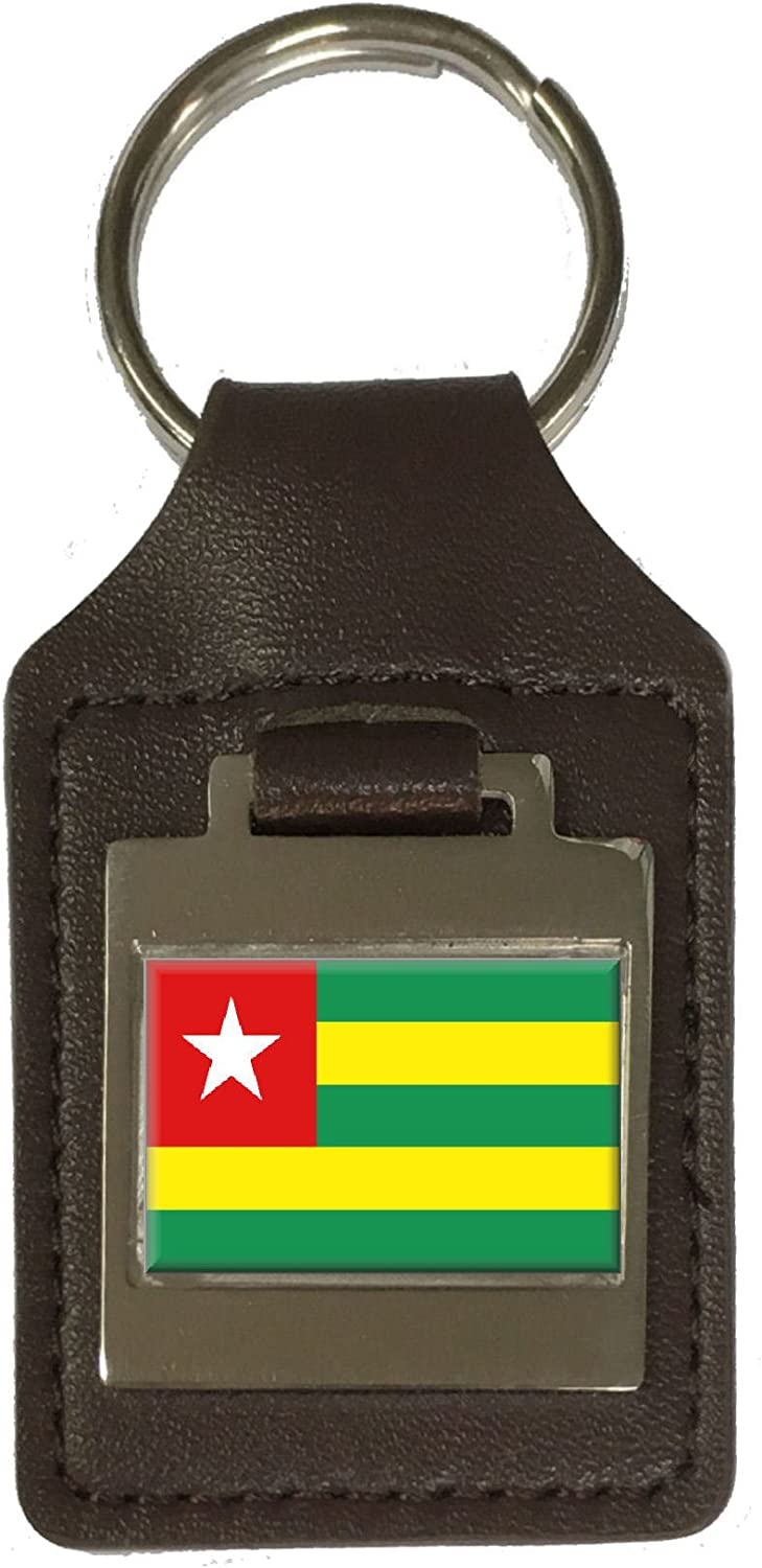 Leather Keyring Engraved Togo Flag