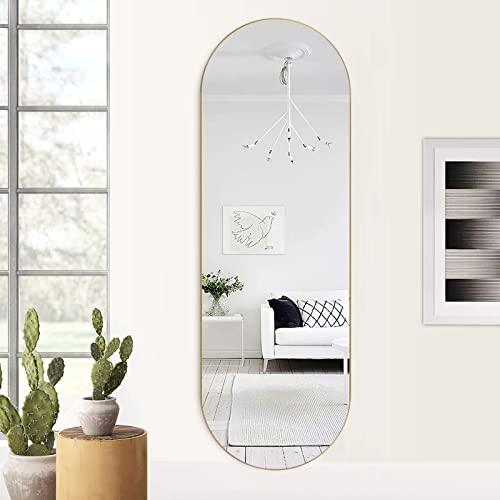 ZHOWI Floor Mirror Full Length Rustic Wood Frame Body Full Size Large Leaning Wall Mounted Rectangle Farmhouse Decorative Wall Hanging Bedroom Living Room Mirrors 65x22in