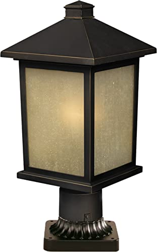 Z-Lite 507PHM-533PM-ORB Holbrook Outdoor Post Light, Metal Frame, Oil Rubbed Bronze Finish and Tinted Seedy Shade of Glass Material