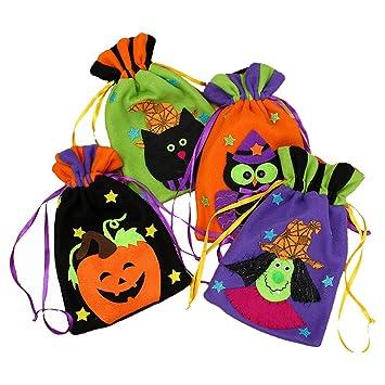4 piezas bolsas de asas de Halloween - dulces de comestibles reutilizables bolsas de asas Trick or Treat bolsos de decoración de favor de fiesta