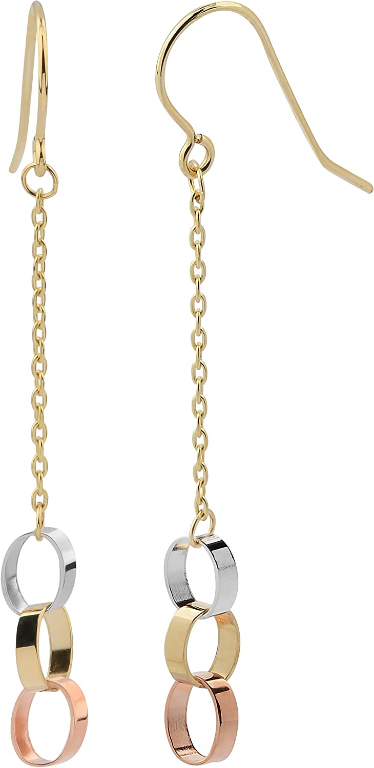 Real Solid 14k Yellow Gold Cutout Oval Chain Dangling Earrings Cute Jewelry