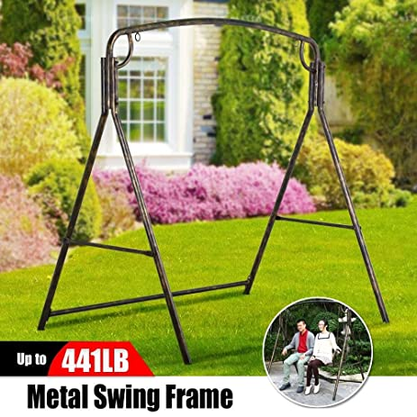 Marvelous Yaheetech Iron Patio Hanging Porch Swing A Frame Swing Stand In Bronze  Finished Outdoor Garden Furniture Part 27