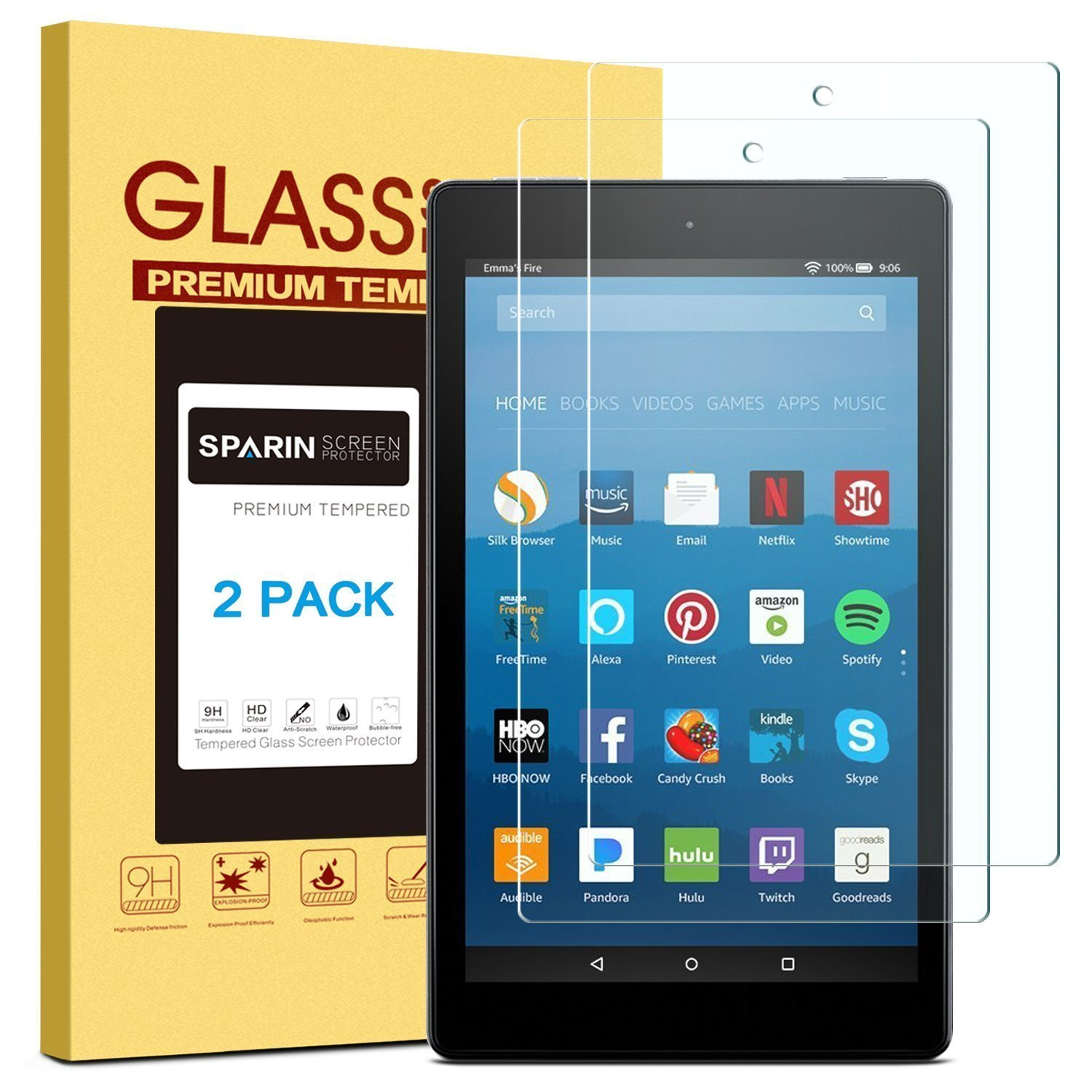 SPARIN Screen Protector for Fire HD 8 (2018/2017 / 2016 Release), [2 Pack ] Tempered Glass Screen Protector Compatible for All-New Fire HD 8 Tablet