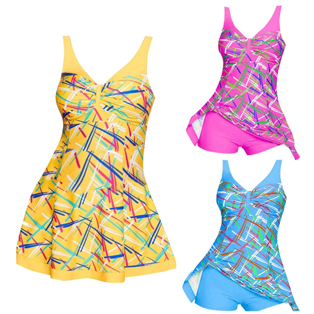 92a18191841c6 Gihorry Womens Floral Tankinis V Neck Bikini Sets High Waist Swimsuits  Skirted Beachwear Padded Bathing Suit Strap Swimwear Top + Short Swimming  Costume