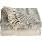 Ehc Premium Pack of 2 Cross-Stitch Throws for Sofa / Chair Blanket,125 x 150cm - Grey / Ivory