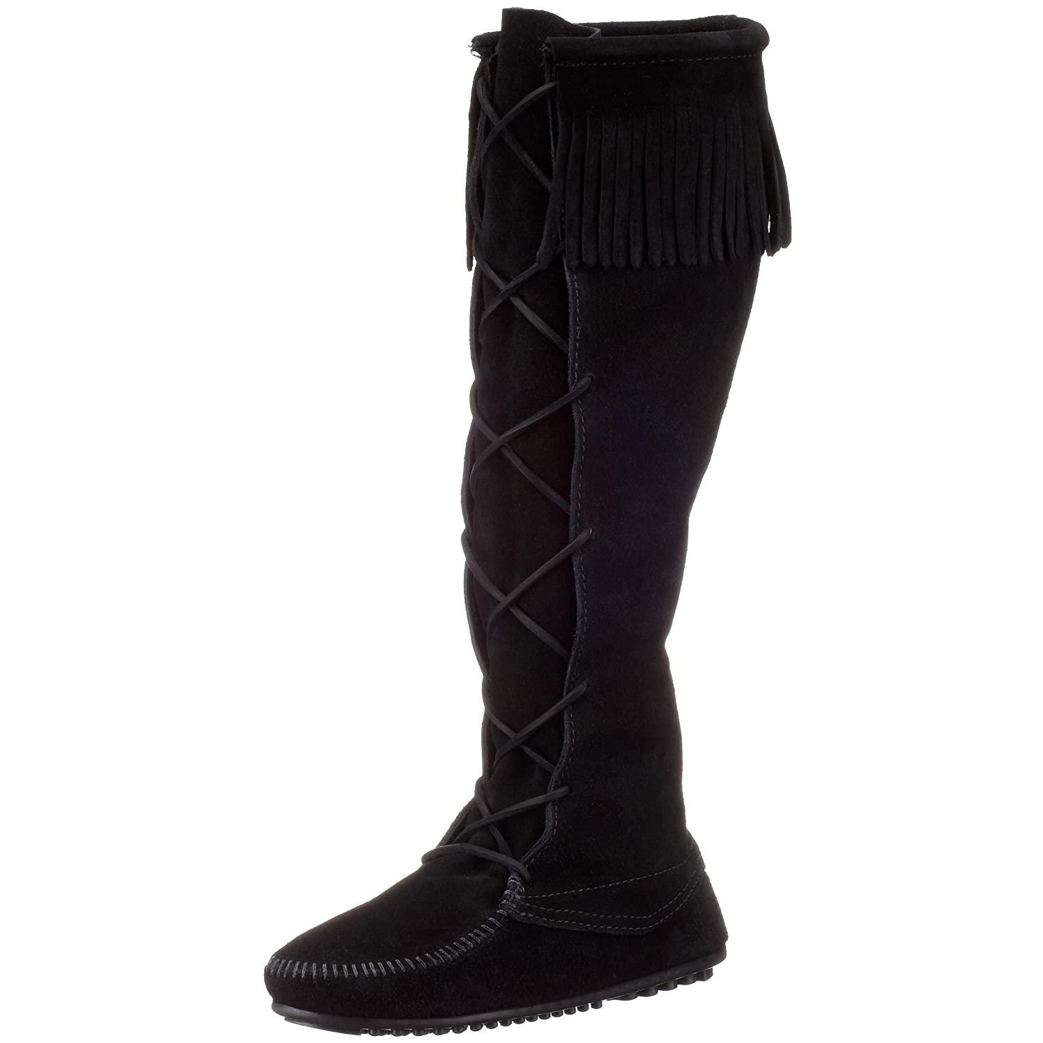 Minnetonka Women's 1429 Front Lace Knee-High Boot B0007STVUU 5 B(M) US|Black