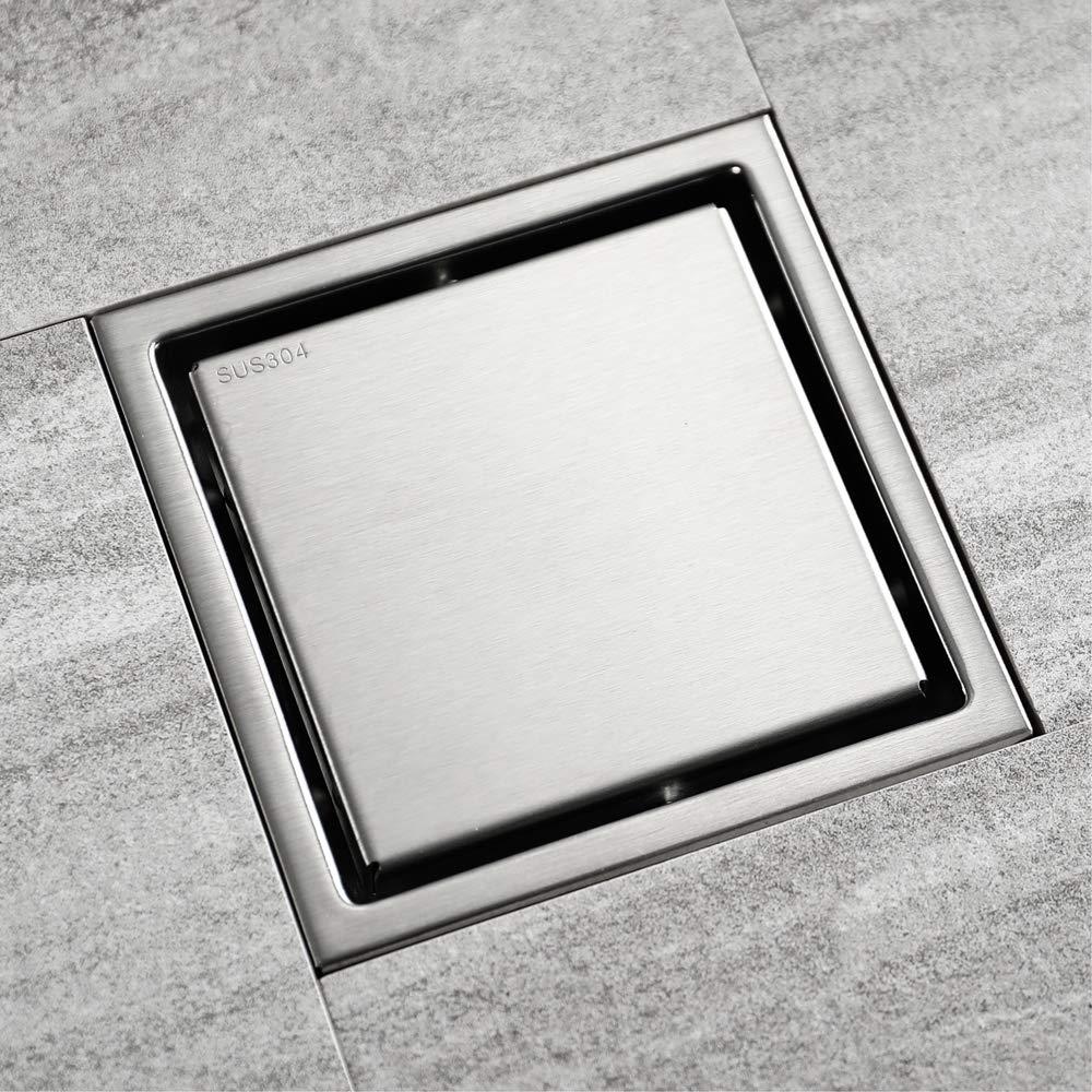 Stainless Steel Square Floor Drain, Waste Drain Cover for Bathroom Shower Room Toilet Laundry Garden Outdoor Floor Shower Drain 110 x 110 mm Floor Drain with Removable Cover Sink Square Shower Drain