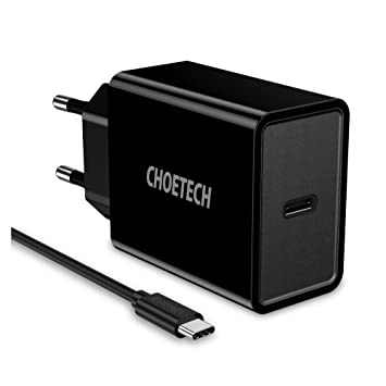CHOETECH USB C Cargador Red, 18W PD Cargador de Pared Cargador Móvil para iPhone XS/XS MAX/XR/X / 8/8 Plus, Galaxy Note 9 / S9 / S8, Nexus 5X / 6P, ...