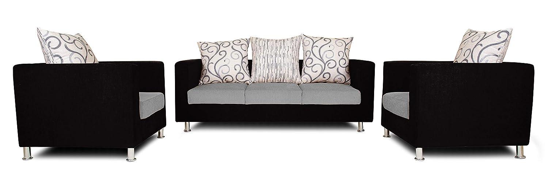 adorn india dexter sofa set 3-1-1 digitel print (grey & black)